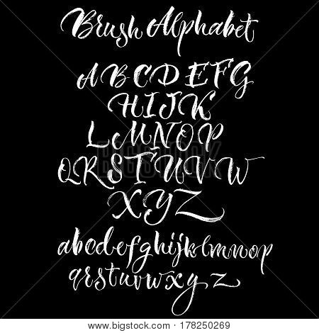 Black background with white scrawling alphabet lettering made with brush in hand drawn style flat vector illustration