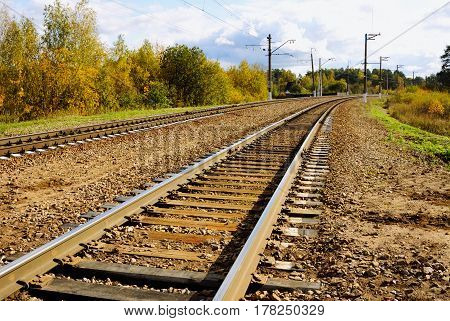The railroad track among yellow autumn trees