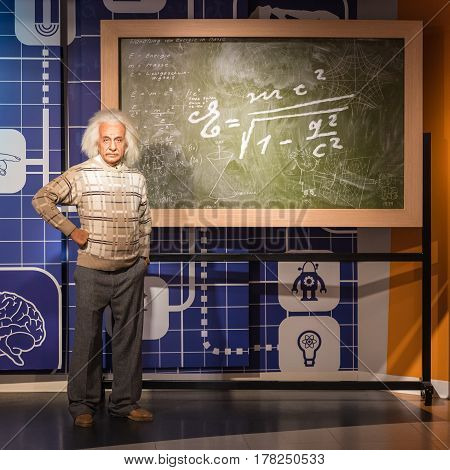 BANGKOK - JUL 22: A waxwork of Albert Einstein on display at Madame Tussauds on July 22, 2015 in Bangkok, Thailand. Madame Tussauds' newest branch hosts waxworks of numerous stars and celebrities.