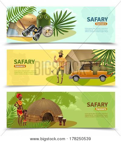 Three isolated horizontal safari banner set with big colored headlines and different themes of safari vector illustration