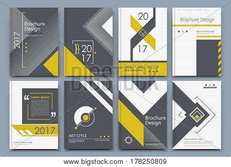Abstract composition. White a4 brochure cover design. Info banner frame. Text font. Title sheet model set. Modern vector front page. Brand logo texture. Yellow color figures image icon. Ad flyer