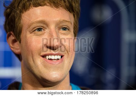 BANGKOK - JAN 29: A waxwork of Mark Zuckerberg on display at Madame Tussauds on January 29 2016 in Bangkok Thailand. Madame Tussauds' newest branch hosts waxworks of numerous stars and celebrities
