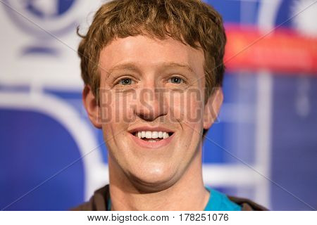 Bangkok - Jan 29: A Waxwork Of Mark Zuckerberg On Display At Madame Tussauds On January 29, 2016 In