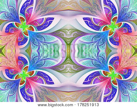 Multicolored flower pattern in stained-glass window style.