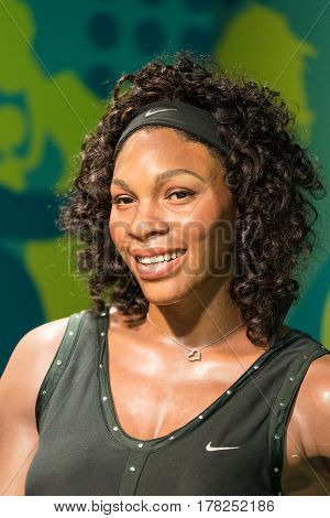 BANGKOK -JAN 29: A waxwork of Serena Williams on display at Madame Tussauds on January 29, 2016 in Bangkok, Thailand. Madame Tussauds' newest branch hosts waxworks of numerous stars and celebrities