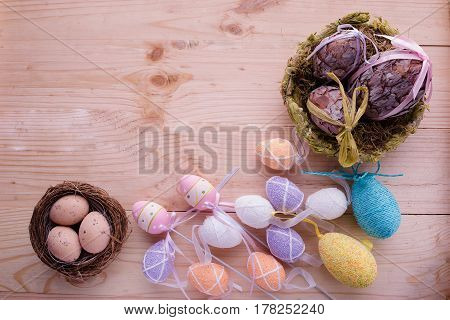 easter background, eggs on wooden background,  easter concept
