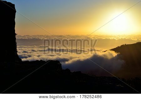 Sunrise over the sea of clouds, summit of Gran canaria, Canary islands