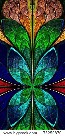 Beautiful fractal pattern in stained-glass window style.