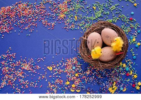 Sweet Colorful Confectionery Sprinkling Texture With Yellow Stars- Sugar Sprinkle Dots, Decoration F