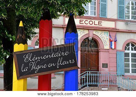 Eguisheim France - july 23 2016 : the primary school