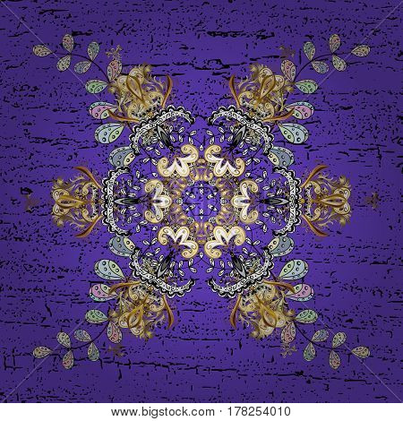 Grunge elements. Abstract with Floral Elements. Snowflakes design on colorful background in violet colors. Vector winter pattern.