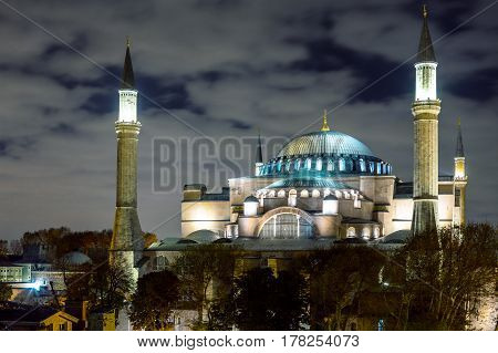 Night View of Istanbul Downtown and Sophia Cathedral illuminated with spotlights