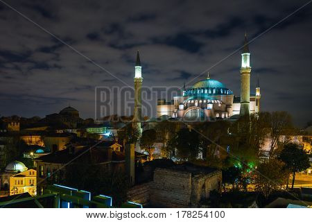 Night View of Istanbul historical Downtown and Sophia Cathedral illuminated with spotlights