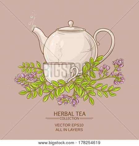 cup of astragalus tea and teapot illustration