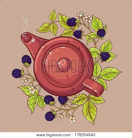 blackberry tea in teapot on color background