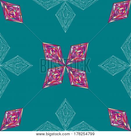 Hand drawn ornament pattern. Vector geometric tracery seamless background. Abstract colorful rhombus texture for wallpaper, wrapping, textile design, fabric