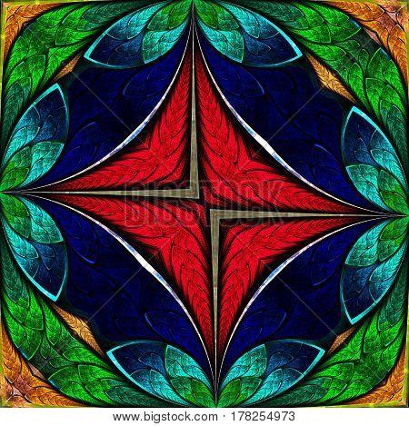 Beautiful flower pattern in stained-glass window style.