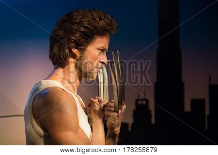 BANGKOK -JAN 29: A waxwork of Wolverine on display at Madame Tussauds on January 29, 2016 in Bangkok, Thailand. Madame Tussauds' newest branch hosts waxworks of numerous stars and celebrities