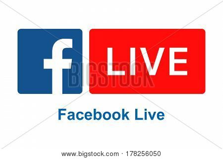 BARCELONA SPAIN - MARCH 26 2017: Facebook Live logo sign on white background printed on paper. Facebook Live lets people, public figures and Pages share live video with their followers and friends on Facebook.