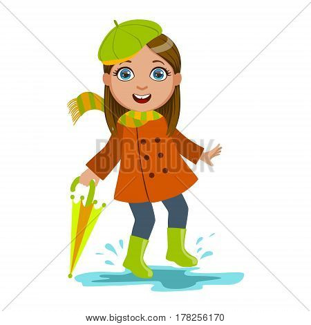 Girl In Green Beret With Umbrella, Kid In Autumn Clothes In Fall Season Enjoyingn Rain And Rainy Weather, Splashes And Puddles. Cute Cheerful Child In Warm Clothing Having Fun Outdoors Vector Illustration.