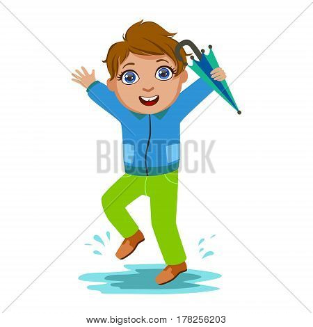 Boy In Blue Jacket With Umbrella , Kid In Autumn Clothes In Fall Season Enjoyingn Rain And Rainy Weather, Splashes And Puddles. Cute Cheerful Child In Warm Clothing Having Fun Outdoors Vector Illustration.