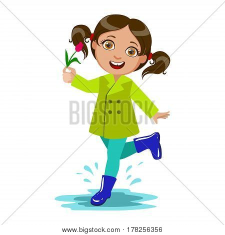 Girl With The Flower, Kid In Autumn Clothes In Fall Season Enjoyingn Rain And Rainy Weather, Splashes And Puddles. Cute Cheerful Child In Warm Clothing Having Fun Outdoors Vector Illustration.