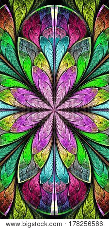 Multicolored Beautiful fractal pattern in stained-glass window style.