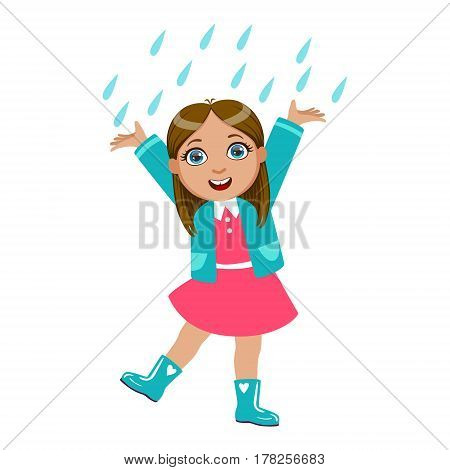 Girl Dancing Under Raindrops, Kid In Autumn Clothes In Fall Season Enjoyingn Rain And Rainy Weather, Splashes And Puddles. Cute Cheerful Child In Warm Clothing Having Fun Outdoors Vector Illustration.