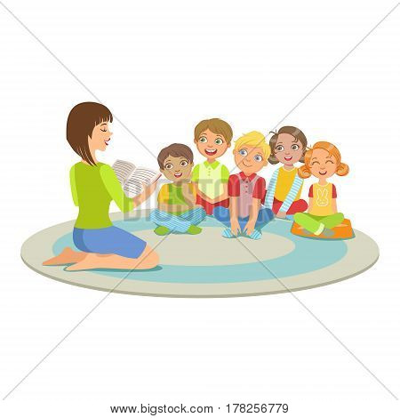 Group Of Small Kids Sitting Around The Teacher On The Floor Reading A Story. Cute Children In Elementary School Class Listening To Adult Reading A Book Vector Illustration.