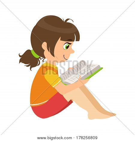 Girl Sitting On The Floor Reading A Book, Part Of Kids Loving To Read Vector Illustrations Series. Bookworm Young Child Who Loves Storybooks And Literature Cartoon Character.