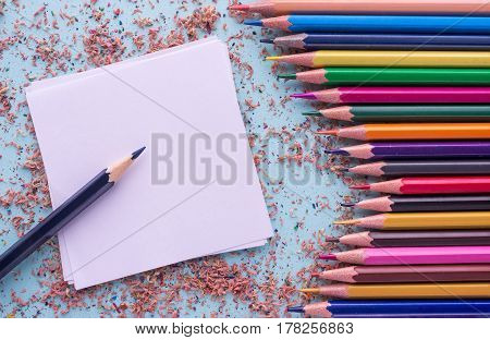 Colorful Of Color Pencils. Wooden Color Shavings And Note Sticker