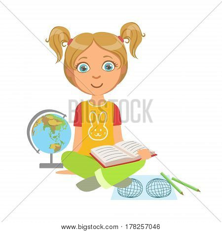 Girl Reading A Geography Book, Part Of Kids Loving To Read Vector Illustrations Series. Bookworm Young Child Who Loves Storybooks And Literature Cartoon Character.