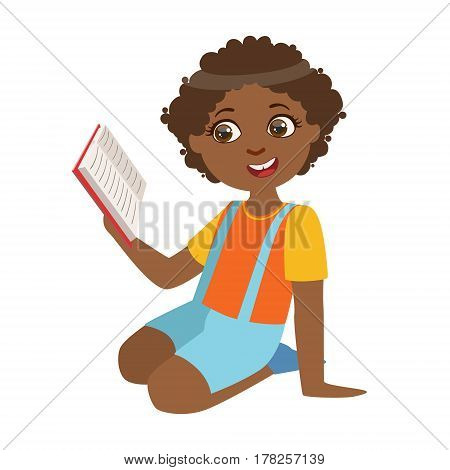 Boy Sitting On The Floor Reading A Book, Part Of Kids Loving To Read Vector Illustrations Series. Bookworm Young Child Who Loves Storybooks And Literature Cartoon Character.