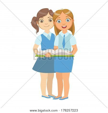 Two Girls In School Uniform Standing Reading A Book Together, Part Of Kids Loving To Read Vector Illustrations Series. Bookworm Young Child Who Loves Storybooks And Literature Cartoon Character.