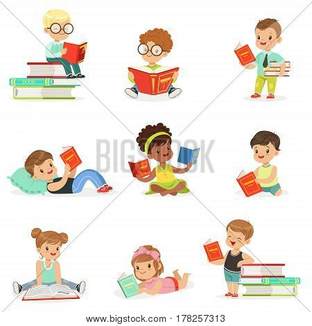 Kids Reading Books And Enjoying Literature Collection Of Cute Boys And Girls Loving To Read Sitting And Laying Surrounded With Piles Of Books..Clever Children Readers, Storybooks And Textbooks Cartoon Scenes.