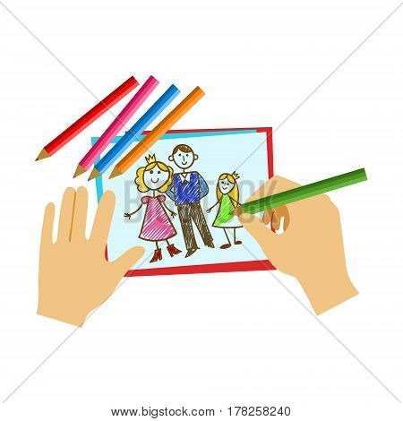 Two Hands Coloring With Pencil A Coloring Book Page, Elementary School Art Class Vector Illustration. Craft And Art For Young Kids Isolated Cartoon Vector Illustration .