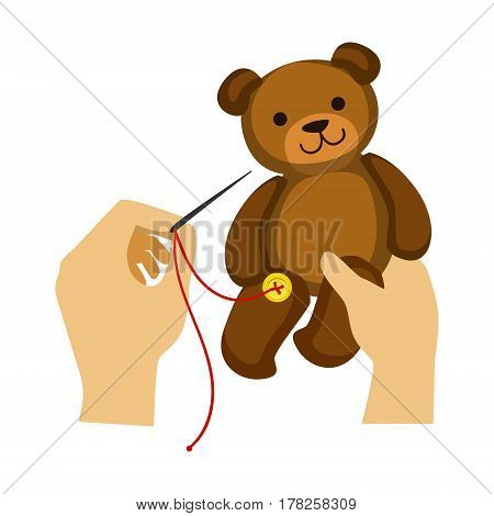Two Hands Stitching Button To A Teddy Bear Toy, Elementary School Art Class Vector Illustration. Craft And Art For Young Kids Isolated Cartoon Vector Illustration .