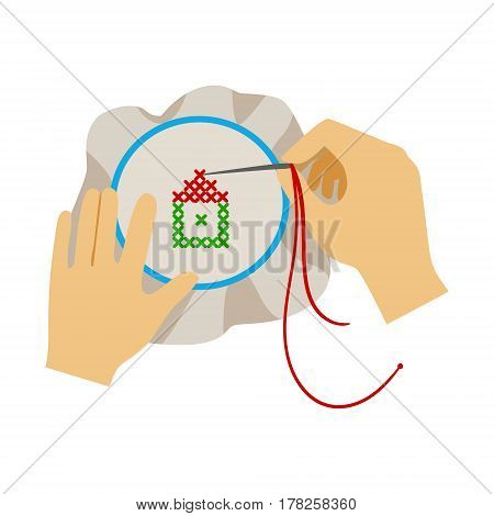 To Hands Doing Cross-Stitching Needlework, Elementary School Art Class Vector Illustration. Craft And Art For Young Kids Isolated Cartoon Vector Illustration .