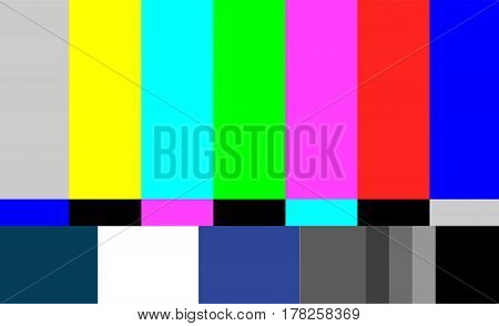 No Signal TV Test Pattern Vector. Television Colored Bars Signal. Introduction And The End Of The TV Programming. SMPTE Color Bars