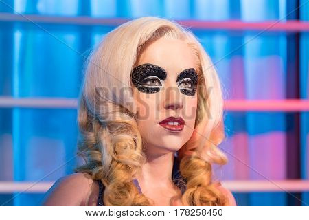 BANGKOK - JAN 29: A waxwork of Lady gaga on display at Madame Tussauds on January 29 2016 in Bangkok Thailand. Madame Tussauds' newest branch hosts waxworks of numerous stars and celebrities