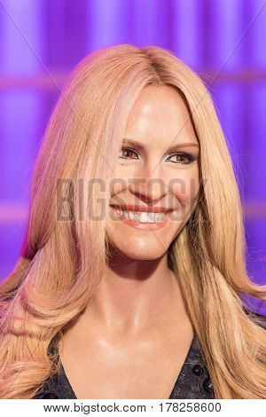 BANGKOK -JAN 29: A waxwork of Julia Roberts on display at Madame Tussauds on January 29 2016 in Bangkok Thailand. Madame Tussauds' newest branch hosts waxworks of numerous stars and celebrities