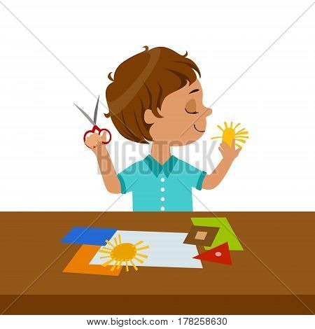 Boy Cutting Sun Shape For Paper Applique, Elementary School Art Class Vector Illustration. Craft And Art For Young Kids Isolated Cartoon Vector Illustration .
