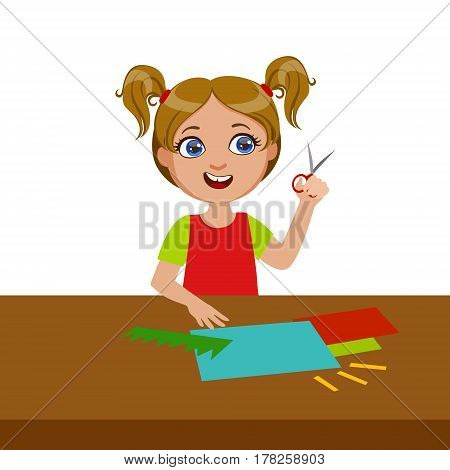 Girl Cutting Grass Shape For Applique, Elementary School Art Class Vector Illustration. Craft And Art For Young Kids Isolated Cartoon Vector Illustration .