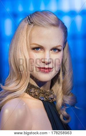 Bangkok-jan 29: A Waxwork Of Nicole Mary Kidman On Display At Madame Tussauds On January 29, 2016 In