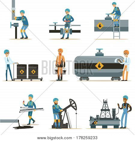 Happy People Working In Oil Industry Collection Of Cartoon Characters Working At The Pipeline And Petroleum Extraction Machinery. Industrial Oil Borehole And Its Workers Vector Illustrations With Refinery Equipment.