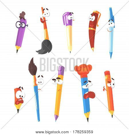 Smiling Pen, Pencils And Brushes, Series Of Animated Stationary Cartoon Characters Isolated Colorful Stickers. Writing And Drawing Tools Alive Funny Illustrations In Childish Bright Cool Style.
