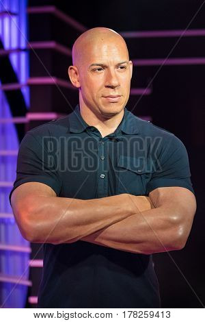 BANGKOK - JAN 29: A waxwork of Vin Diesel on display at Madame Tussauds on January 29 2016 in Bangkok Thailand. Madame Tussauds' newest branch hosts waxworks of numerous stars and celebrities