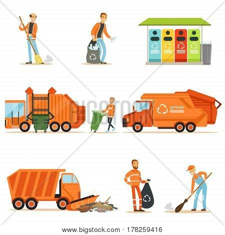 Garbage Collector At Work Set Of Illustrations With Smiling Recycling And Waste Collecting Worker. Street Cleaning And Trash Disposal Themed Drawings With Special Vehicle For Recyclables.