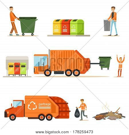 Garbage Collector At Work Series Of Illustrations With Smiling Recycling And Waste Collecting Worker. Street Cleaning And Trash Disposal Themed Drawings With Special Vehicle For Recyclables.