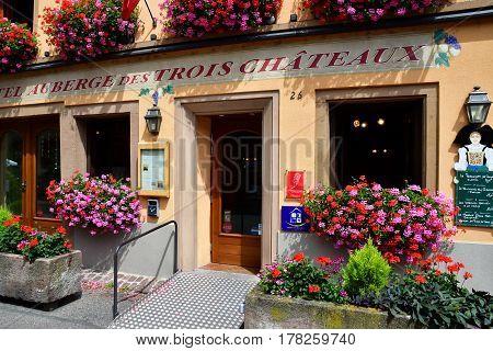 Eguisheim France - july 23 2016 : restaurant in the historical village in summer